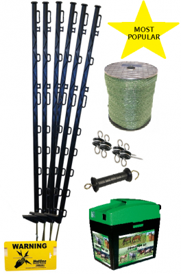 Equine 9V Starter Kit With Tall 4ft Posts - easy to set up - green or white