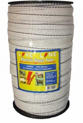 Live Line White 40mm Wide Electric Fence Tape