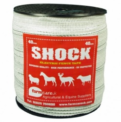 SHOCK White 40mm Wide Electric Fence Tape