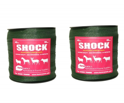 Shock Green 40mm Wide Electric Fence Tape Twin Pack Deal