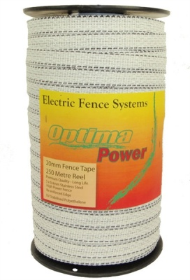 OPTIMA POWER 20mm  WHITE Electric Fence Tape - 5 yr warranty