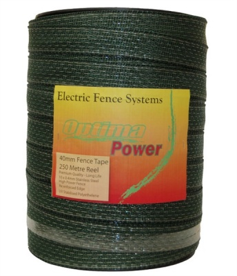 OPTIMA POWER GREEN 40mm Wide Electric Fence Tape - 5 yr warranty