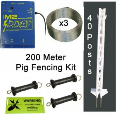 Pig Electric Fence Kit - Mains - 200 Metres
