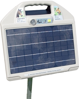 AS70 Solar Electric Fence Energiser - up to 8km and for cheeky livestock - with FREE T-Earth Stake and Stand