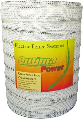 OPTIMA POWER  White 40mm Wide Electric Fence Tape - 5 yr warranty