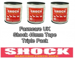 SHOCK White 40mm Wide Electric Fence Tape Triple Pack Deal
