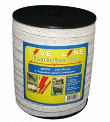 Live Line White 20mm Electric Fence Tape
